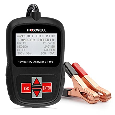 FOXWELL BT100 12 Volt Car Battery Tester 100-1100 Cold Cranking Amps Check Battery Life Health Directly Detect Bad Cell Battery