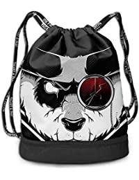 WITHY The Badass Panda Multifunctiona Drawstring Sport Backpack Foldable Sackpack