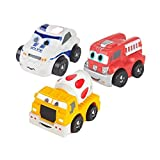 SainSmart Jr. 3er Set Mini Weiche Squeezable Pull Back Polizeiauto Mixer Truck Fire Truck Ungiftiges Sicherheit Spielzeug