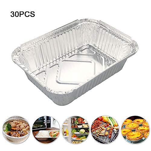 XHONG Aluminiumfolien-Behälter, 30 Stück Einweg-Grill-Fettpfannen aus Aluminiumfolie, kompatibel mit Weber-Grills ideal zum Backen, Braten und Kochen