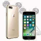 TVVT Purpurina Funda Orejas Compatible con Funda iPhone 6 Plus / 6S Plus, 3D Oreja Brillo Glitter Brillante Cubierta Protectora Transparente Ultrafino Ultraligero Suave Silicona Carcasa - Plata