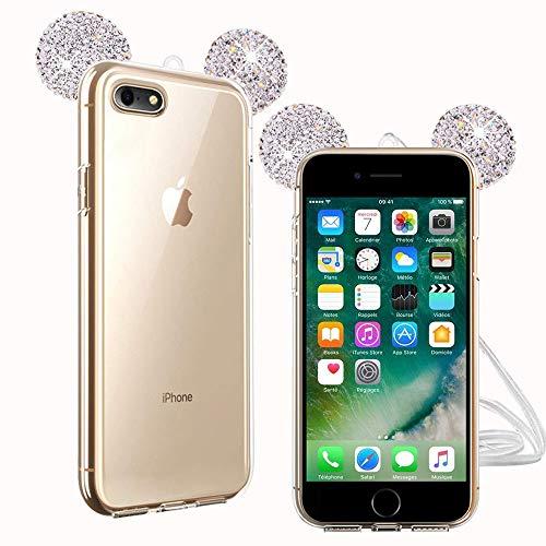 TVVT Kompatibel mit iPhone 7 / iPhone 8 Hülle, 3D Süß Maus Ohren Bling Diamant Schutzhülle Ultradünn Transparent Weich TPU Silikon Transparent Handyhülle Kratzschutz - Silber
