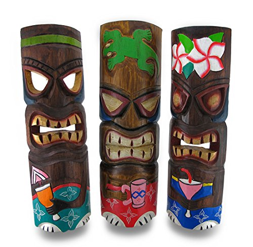 Madera-juego-de-mscaras-decorativas-de-3-de-fiesta-Tiki-de-mscaras-tallada-a-mano-madera-cctel-Tikis-19-en-55-x-19-x-4-cm-Multicolor-Modelo-TM22