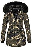 Marikoo warme Damen Winter Jacke Mantel Parka Winterjacke Teddyfell B388 (M, Camouflage - Army)