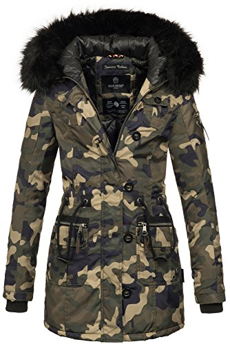 Camouflage Nylon Parka (Marikoo warme Damen Winter Jacke Mantel Parka Winterjacke Teddyfell B388 (M, Camouflage - Army))