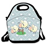 Sheep Jumping Over Fence Clipart Insulated Lunch Bag - Neoprene Lunch Bag - Large Reusable Lunch Tote Bags For Women, Teens, Girls, Kids, Baby, Adults Portable Carry