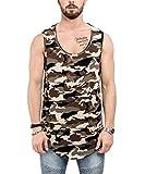 Phoenix Oversize Round Tank Top Herren Camo Longshirt Camouflage Woodland - L