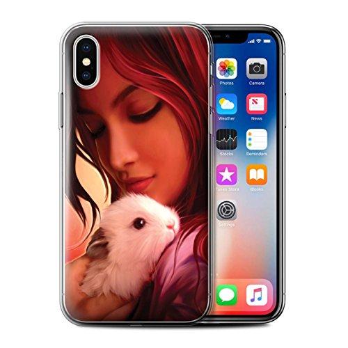 Offiziell Elena Dudina Hülle / Gel TPU Case für Apple iPhone X/10 / Kleopatra/Golden Schlange Muster / Die Tiere Kollektion In meine Arme/Safe