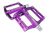 FrontStep Pedales Antideslizantes de Aluminio Pedales de Bicicleta fáciles para MTB/Pedal de Bicicleta de montaña/Pedal BMX con husillo de Acero CR-Mo (Violeta)