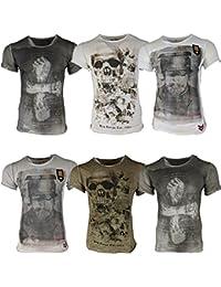 7901351f4d54 Key Largo Herren T-Shirt Totenkopf Vintage Look Sommershirt Fit Rundhals O- Neck S M L