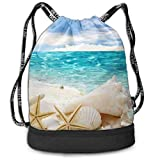 Aeykis Unisex Beach Sand Shells White Starfish Multifunctional Drawstring School Shoulders Bag Casual Outdoor Daypack