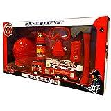 Kinder Feuerwehr-Set Feuerwehrmann Kostüm Accessoires Spielzeug Feuerwehrhelm