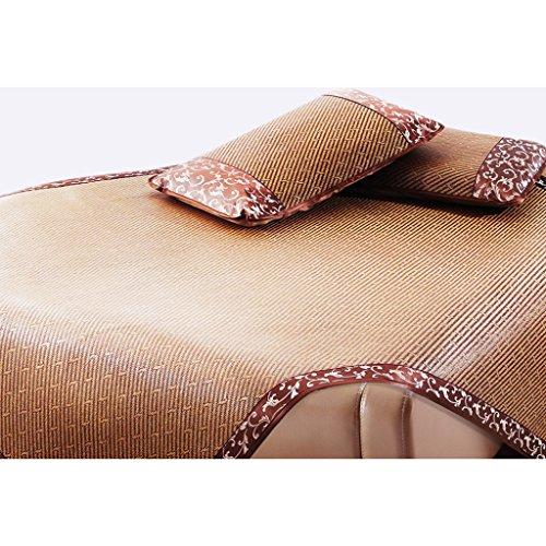 Liuyu · Double Side Rotin Seat Ice Silk 1.5 Mètres Tapis 1.8M Lit Bambou Été Pliage Glace Tapis Herbe Tapis Été Et Hiver 1.35 Disponible Des Deux Côtés (avec Deux Taies De Bambou)