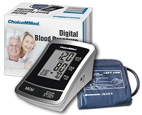 Pulsfrequenz Blutdruck (Digitales Blutdruckmessgerät [ChoiceMMed BP10] Helles, leicht ablesbares LCD-Display zeigt systolischen und diastolischen Blutdruck, Pulsfrequenz, Datum und Uhrzeit.)