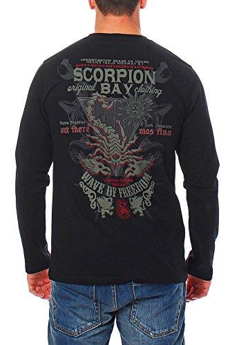 Scorpion Bay Herren T-Shirt Langarmshirt Shirt Longsleeve Polo MTLS3082 Schwarz