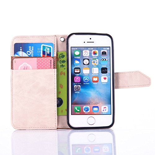 iPhone SE Hülle,iPhone 5S Ledertasche,iPhone 5 Case - Felfy Wallet Hülle Ledertasche Luxe Premium Dünne handgemachte PU-Leder-Mappen-Schlag-Folio Kreditkartensteckplätze Tasche Spleißelement Farbe Des Schwarz & Golden