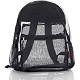 Clear Mesh Backpack For Kids Men & Women By Bravo - Large School & Travel Bag - Stylish Transparent See Through Design - Comfortable Padded Shoulder Straps - Utility Pocket & Bottle Holders (BLack)