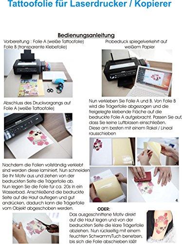 Tattoo-Transferfolien BodyStyle für Laserdrucker Farblaserdruck Laser Kopierer Spezialfolien...