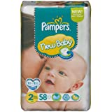 Pampers - 81367657 - New Baby Couches - Taille 2 - 3-6 kg - Format Géant x 58 Couches