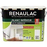 Renaulac Peinture intérieur Murs & Plafonds Bicouche Acrylique Blanc Satin 5L - 50m²