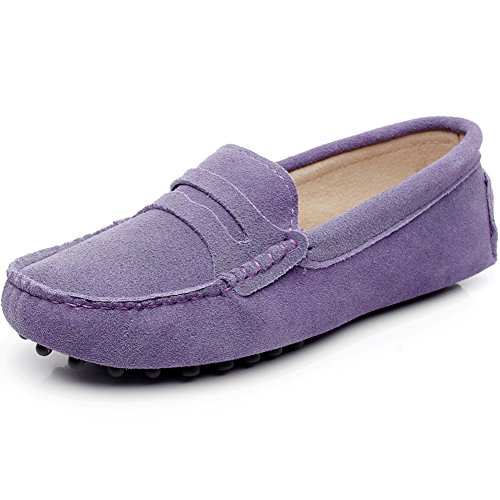 Generic Damen Mode Schlüpfen Mokassins Beiläufig Wildleder Halbschuhe Schuhe Lila 3jLv4B4Cd