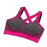 Soutien-gorge de sport Angelof Femmes Sans Soudure Fitness Yoga RembourréS Sport Soutien-Gorge DéBardeur Stretch EntraîNement (L, Rose chaud)...