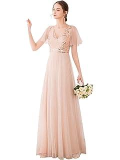 Ever-Pretty Vestiti da Cerimonia Scollo a V Linea ad A Abiti da Sera Tulle Donna 00614