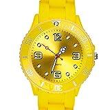Taffstyle Farbige Sportuhr Armbanduhr Silikon Sport Watch Damen Herren Kinder Analog Quarz Uhr 34mm Gelb