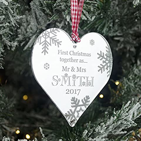 Personalised Mirrored Acrylic Heart Christmas Tree Decoration. 1st First Christmas Bauble Gift