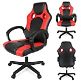 Racing Gaming Computer Swivel Office Chair,Ergonomic High-Back PU Leather Desk Chair(Black+Red)