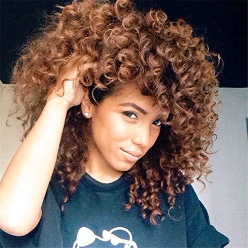 AEWIG Afro Kurz Gelockt Kinky Perücken Zum Schwarz Frau Hitze Beständig Synthetik Ombre Braun Haar Voll Perücke mit Frei Perücke Kappe 17