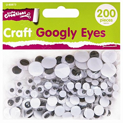 200 x Assorted Size Goggly Eyes Art Craft Wobbly Wiggly Googly Kids Teddy