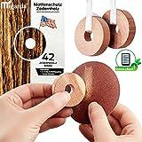 Migarda - Zedernholz Mottenschutz - 42x Ringe - 100% Bio - Mottenfalle zum Schutz vor Kleidermotten - Holz-Ringe für Kleiderschrank und Kleiderbügel - Chemiefreie Mottenabwehr - inkl. E-Book