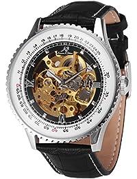 KS KS110 - Reloj Mecánico Hombre, Correa de Cuero Negro