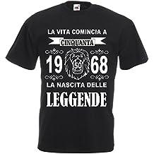 pazza idea t shirt uomo donna la vita comincia 50 anni 1968 leggende compleanno anno