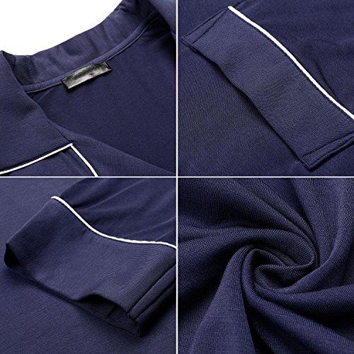Keland Damen Nachthemd Hemd Negligee Luxus Nachtwäsche Sleepshirt mit Reverskragen und Brusttasche Langarm:Marineblau