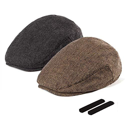 LADYBRO Herren Newsboy Cap Ivy Hut - 30% Wolle Cabbie Hats für Herren Irish Tweed Flat Cap - Schwarz - L/XL, 58/60 cm, 7 1/4 / 7 1/2 Tweed Ivy Hat