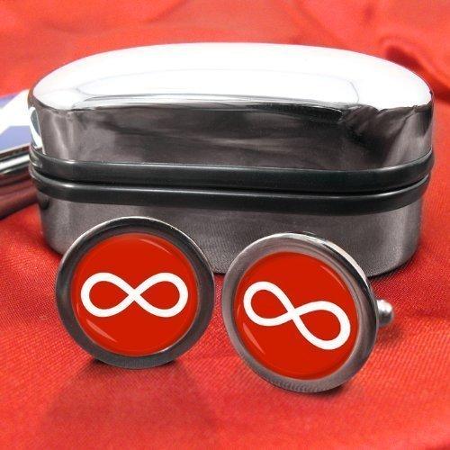 Infinity Symbol Männer-Manschettenknöpfe mit Chrom-Geschenkbox