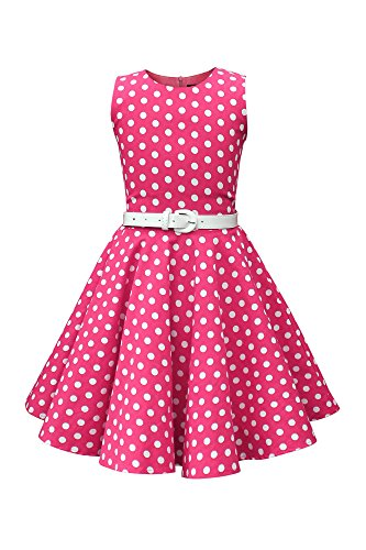 BlackButterfly Kinder 'Audrey' Vintage Polka-Dots Kleid im 50er-J-Stil (Rosa, 7-8 J / 122-128) (Kleid Kinder Rosa)