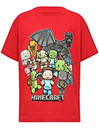 Boys Minecraft Game Character Party Print Red Short Sleeve Boys T-Shirt Red 5/6 Yr