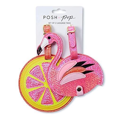 Tri-Coastal Design - Set di 2 Etichette Bagaglio in Eco Pelle con Dettagli Glitter per Donna - Per Riconoscere Sempre la Tua Valigia (flamingo)