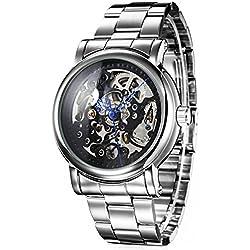 Alienwork IK mechanische Automatik Armbanduhr Skelett Automatikuhr Uhr schwarz silber Metall 98296G-01