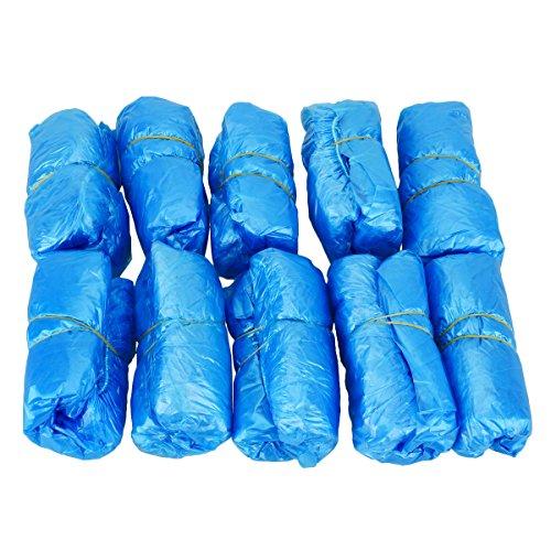Schuhüberzieher Einweg Rutschfest, TankerStreet Überschuhe Wasserdicht Einweg Überziehschuhe Plastik, Überzieher für Schuhe , 100 Stücke - Blau
