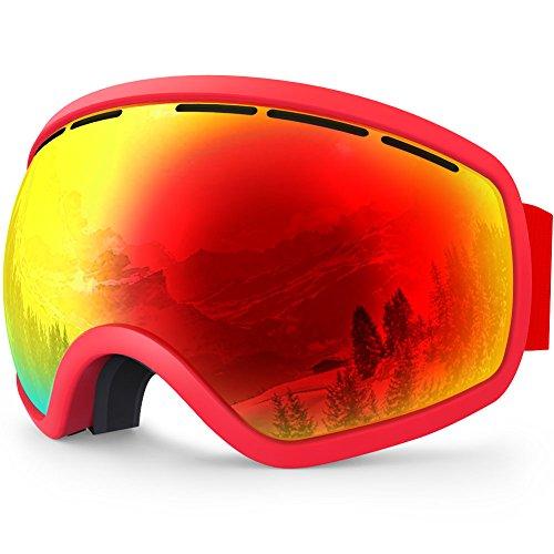 ZIONOR Lagopus X10 Rahmen / Rahmenlos Snowboard Skibrille mit Abnehmbar PC Linse 100% UV400 Schutz Anti-Fog Periphere Anzeigen mit Fixpunkt Anti-Rutsch -