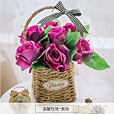 LLPXCC künstliche Blume Wohnzimmer Esstisch Swing Haus dekoriert in Rose American Topfpflanzen und Wandmontage zum Korb Blumen Basketsthat stieg die Lila
