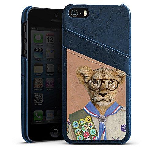 Apple iPhone 6 Housse Étui Silicone Coque Protection Lion Hipster Lion Étui en cuir bleu marine