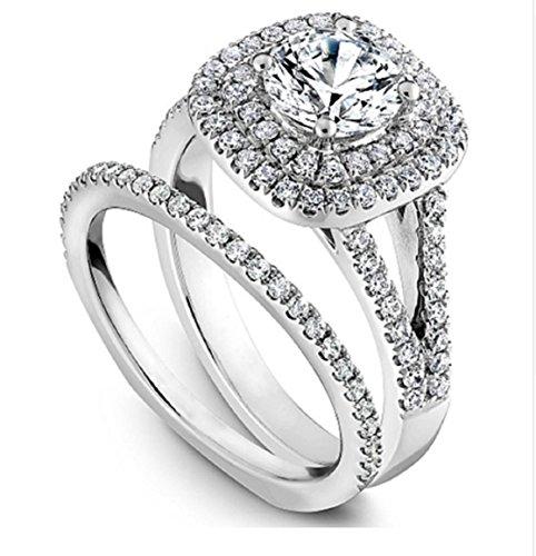 Gowe mit doppelter Halo moissanites Hochzeit Braut-1ct angebaut Labor Diamanten-Ring mit Schaft