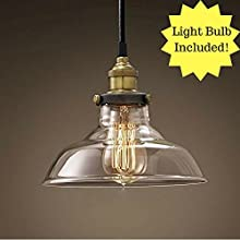 Retro Dig® Industrial Vintage Style Light Fitting Glass Ceiling Pendant Lamp Shade Light Lighting For Kitchen Loft Bedroom Office 28cm with E27 Light Bulb