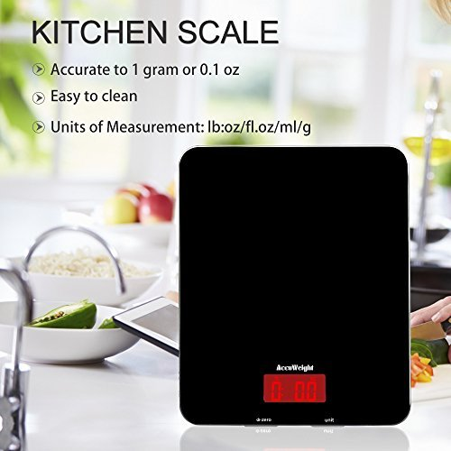 ACCUWEIGHT Bilancia da Cucina Digitale con Alta Precisione, Multifunzionale Bilancia da Cucina Elettronica, Design Liscio Facile da Pulire, LCD Display Retroilluminato, 5kg - 3