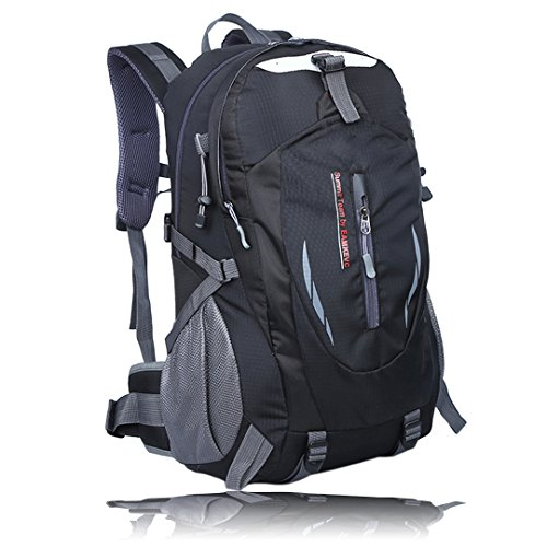HLZDH 40L Impermeable Mochila de Senderismo de Senderismo Backpack Paquete del Alpinismo Escalada Marcha Trekking Camping Deporte Al Aire Libre Acampadas (negro)